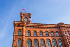 Rotes Rathaus Red City Hall, located in the  Alexanderplatz in Stock Images