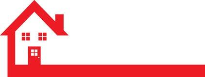 Rotes Real Estate Logo Template mit Haus Lizenzfreies Stockfoto