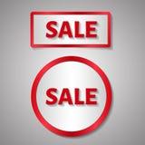 Rotes Rechteck und Kreisaufkleber, Text des Verkaufs Lizenzfreie Stockfotos