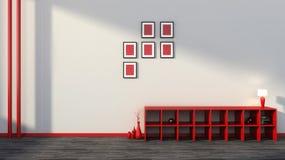 Rotes Regal mit Vasen, Büchern und Lampe Lizenzfreies Stockfoto