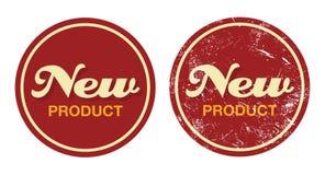 Rotes Retro- Abzeichen des neuen Produktes - grunge Art vektor abbildung