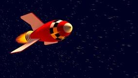 Rotes Retro- Spielzeugraketenschiff im Raum mit sich schnell bewegenden Sternen stock video