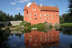 Rotes romantisches Schloss Stockfoto