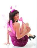 Rotes rosa Inneres der schönen Mädchenfrau   Stockfoto