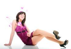 Rotes rosa Inneres der schönen Mädchenfrau   Lizenzfreie Stockfotos