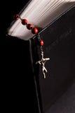 Rotes Rosenbeet und heilige Bibel stockfotos