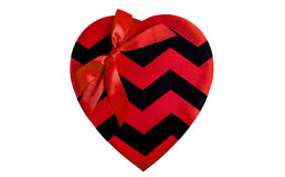 Rotes Satin-Herz mit Band Lizenzfreies Stockbild