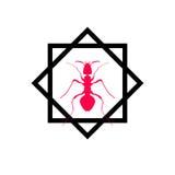 Rotes Schattenbild der Ameise, Logodesign Vektor Lizenzfreie Stockfotografie
