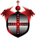 Rotes Schild mit Löwen und Kreuz Stockfoto