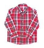 Rotes Schottenstoffhemd gefaltet auf weißem Hintergrund lizenzfreie stockbilder