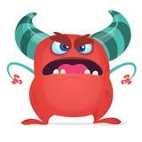 Rotes schreiendes Monster der verärgerten Karikatur Schreien des verärgerten Monsterausdrucks Halloween-Charakter Photorealistic  Lizenzfreie Stockfotografie