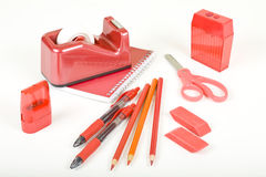 Rotes Schule-Set Stockbild