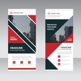 Rotes schwarzes abstraktes Dreieck Geschäft rollen oben flache Designschablone der Fahne, abstrakte geometrische Fahnenschablone  Lizenzfreie Stockfotos
