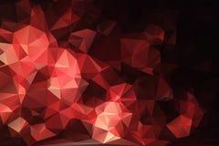 Rotes schwarzes abstraktes Hintergrundpolygon. Stockfotografie
