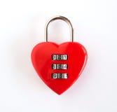 Rotes shap Herz des Kombinationsschlosses Stockbild