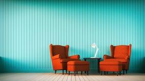 Rotes Sofa und Marinewand mit vertikalen Streifen Stockbilder