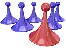 Rotes Spiel-Stück-gewinnender führender Wettbewerbs-bester Spieler lizenzfreie abbildung