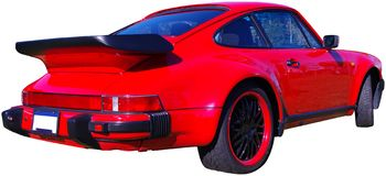 Rotes Sport-Auto getrennt Stockbild