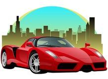 Rotes Sport-Auto mit Stadtbild Stockbilder