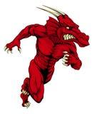 Rotes sprintendes Drachemaskottchen Stockbilder