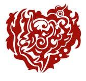 Rotes Stammes- Phoenix-Herz Lizenzfreie Stockbilder
