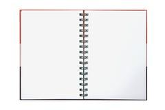 Rotes Steigunganmerkungsbuch auf Weiß Stockbild