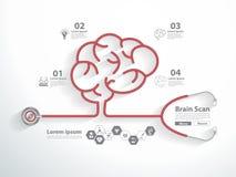 Rotes Stethoskop des Vektors in Form des Gehirnscans lizenzfreie abbildung