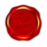 Rotes STRENG GEHEIM Wachssiegel auf weißem Hintergrund Stockfotos