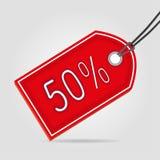 Rotes Tag fünfzig des Verkaufs Lizenzfreie Stockbilder