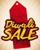 Rotes Tag mit Paisley für den Diwali-Verkauf, Vektor-Illustration Stockbilder