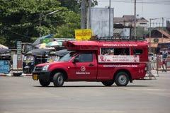 Rotes Taxi Chiang Mai, für Passagier vom Busbahnhof Stockfoto
