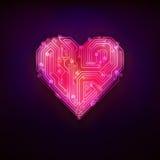 Rotes Technologiestrukturdesign als moderne Grafik des Liebes- und Herzsymbols Stockfoto