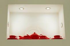 Rotes Teeset stockbilder
