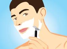 Rotes TeethHealthy-Mann-Rasieren Stockfotos