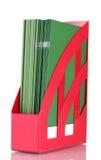Rotes Tellersegment für Papiere Stockfoto