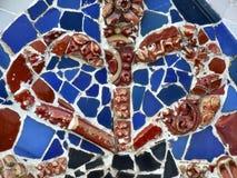Rotes und blaues altes buntes Mosaik lizenzfreies stockfoto