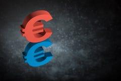 Rotes und blaues EU-Währungszeichen oder Zeichen mit Spiegel-Reflexion auf dunklem Dusty Background stock abbildung