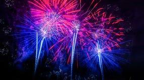 Rotes und blaues Feuerwerk Stockfoto