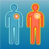 Rotes und blaues menschliches Schattenbild Schmerz auf Herzen Stockbilder