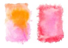 Rotes und gelbes Aquarell spritzt lokalisiert auf weißem Hintergrund Lizenzfreie Stockbilder
