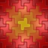 Rotes und gelbes Metallfußboden Stockfoto