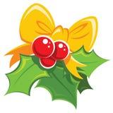 Rotes und grünes Gestaltungselement des einfachen Mistelzweiges der Karikatur mit yello Lizenzfreie Stockfotografie