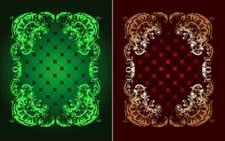 Rotes und grünes Goldaufwändige Fahne Lizenzfreies Stockbild
