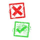 Rotes x und grünes Häkchen, grungy Stempel Lizenzfreie Stockbilder