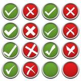 rotes und grünes Häkchen und Kreuz Lizenzfreie Stockfotos