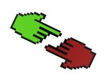 Rotes und grünes Handzeigerkonzept Stockfoto