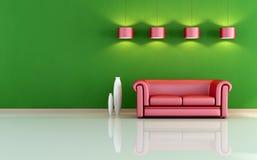 Rotes und grünes Wohnzimmer Stockbild