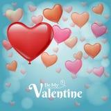 Rotes und rosa Herz steigt Fliegen auf Himmel im Ballon auf Lizenzfreies Stockbild