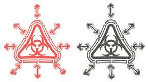 rotes und schwarzes Dreieck Biohazard-Strahlungssymbol 3D, in lokalisiert Lizenzfreie Stockfotos