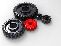 Rotes und schwarzes gear.jpg Stock Abbildung